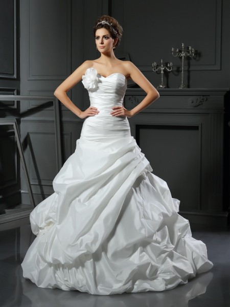 Ball Gown Ivory Satin Cathedral Train Wedding Dresses with Hand-Made Flower