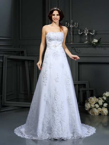 A-Line/Princess White Satin Court Train Wedding Dresses with Applique