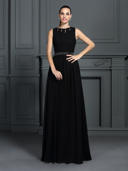 A-Line/Princess Black Chiffon Floor-Length Evening Dresses with Pleats