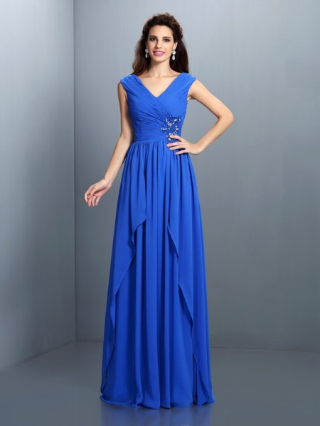 A-Line/Princess Blue Chiffon Floor-Length Evening Dresses with Beading