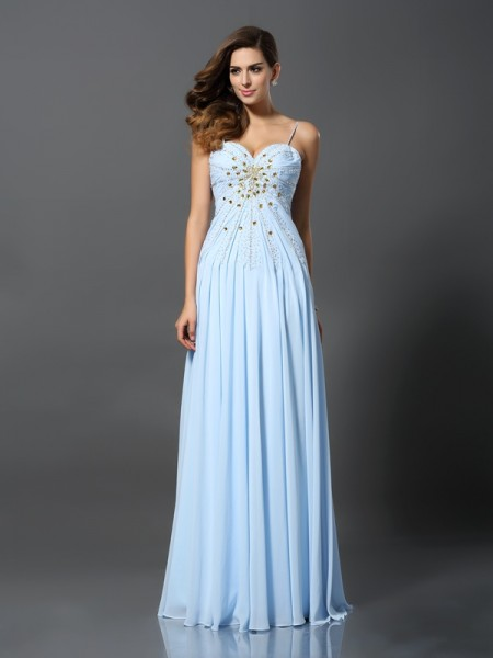 A-Line/Princess Light Sky Blue Chiffon Sweep/Brush Train Dresses with Beading