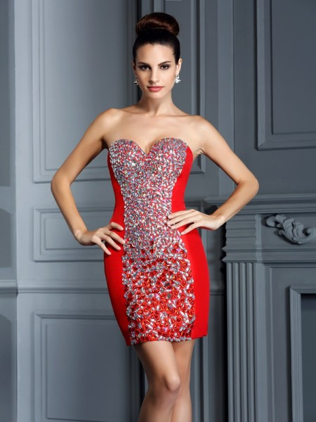 Sheath/Column Red Taffeta Short/Mini Homecoming Dresses with Embroidery