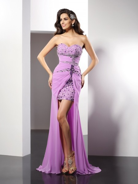 Sheath/Column Lilac Silk like Satin Floor-Length Evening Dresses with Beading