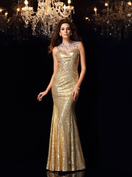 Trumpet/Mermaid Gold Sequins Floor-Length Dresses with Other