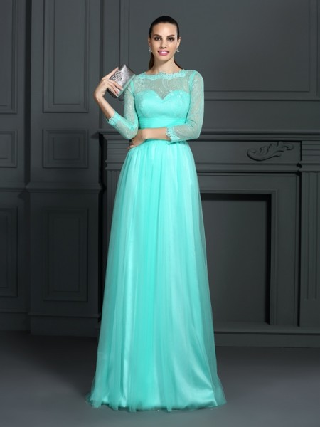 A-Line/Princess Hunter Green Elastic Woven Satin Sweep/Brush Train Evening Dresses with Lace