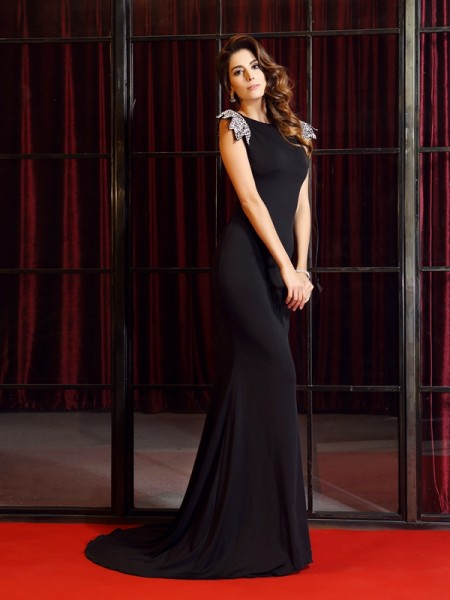 Trumpet/Mermaid Black Spandex Court Train Dresses with Ruffles