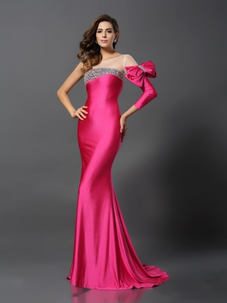 Trumpet/Mermaid Fuchsia Spandex Sweep/Brush Train Evening Dresses with Bowknot