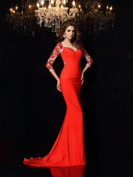 Trumpet/Mermaid Red Elastic Woven Satin Sweep/Brush Train Evening Dresses with Applique