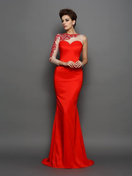 Trumpet/Mermaid Red Elastic Woven Satin Court Train Evening Dresses with Embroidery