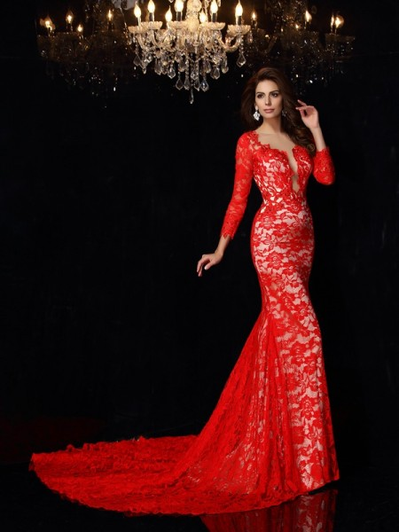 Sheath/Column Red Elastic Woven Satin Court Train Dresses with Lace
