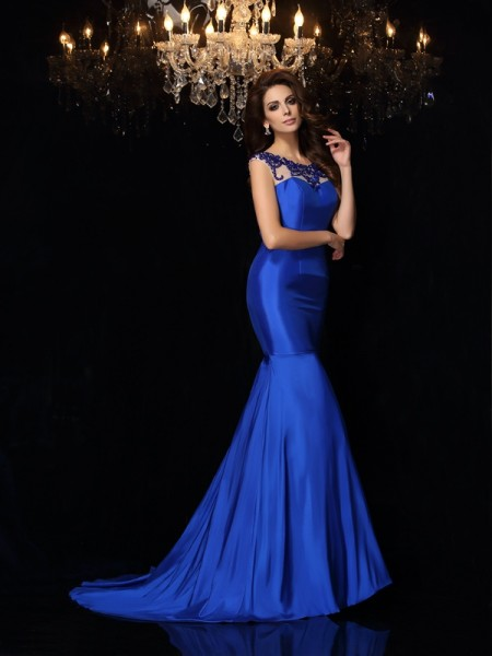 Trumpet/Mermaid Royal Blue Taffeta Court Train Evening Dresses with Applique