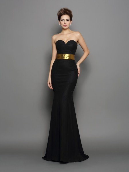 Trumpet/Mermaid Black Chiffon Court Train Evening Dresses with Sash/Ribbon/Belt