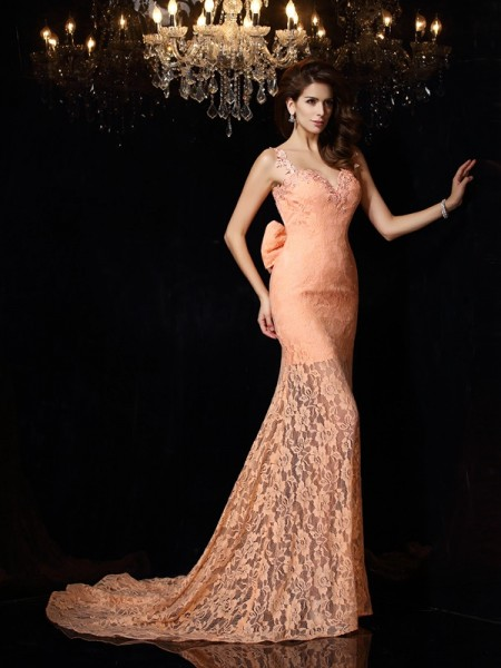 Sheath/Column Orange Satin Court Train Dresses with Lace