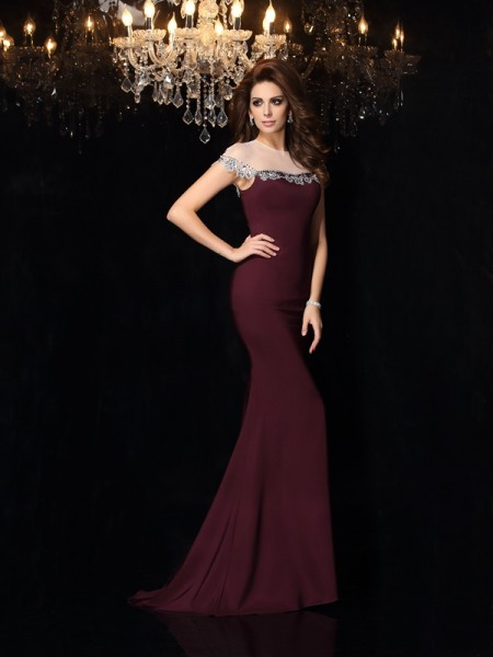 Trumpet/Mermaid Grape Elastic Woven Satin Court Train Evening Dresses with Applique