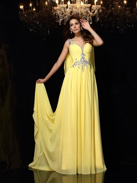 A-Line/Princess Daffodil Chiffon Court Train Dresses with Beading