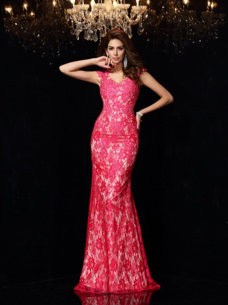 Sheath/Column Fuchsia Elastic Woven Satin Floor-Length Dresses with Lace