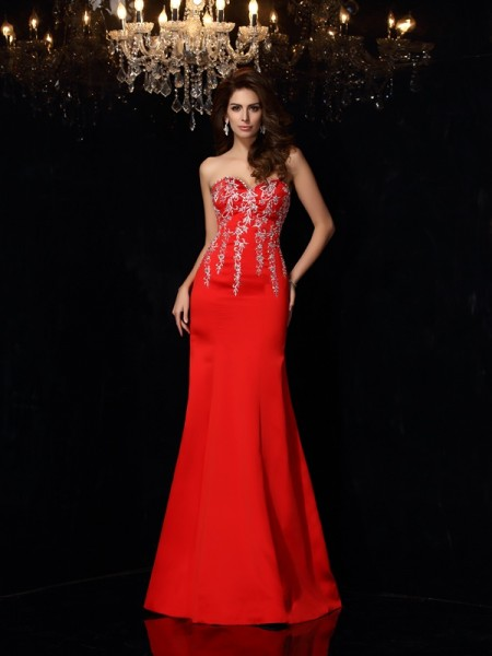Sheath/Column Red Satin Floor-Length Dresses with Applique