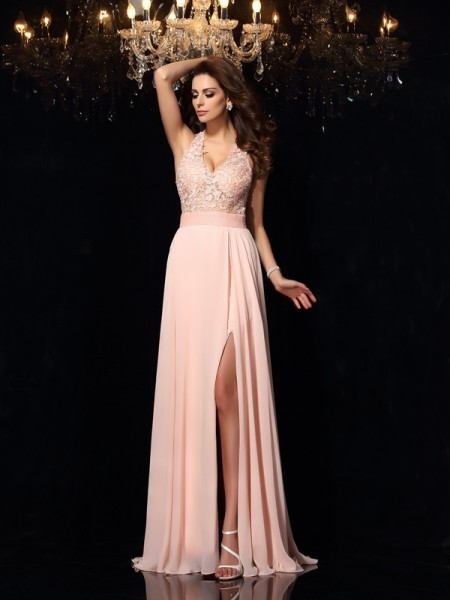 A-Line/Princess Pearl Pink Chiffon Sweep/Brush Train Dresses with Lace