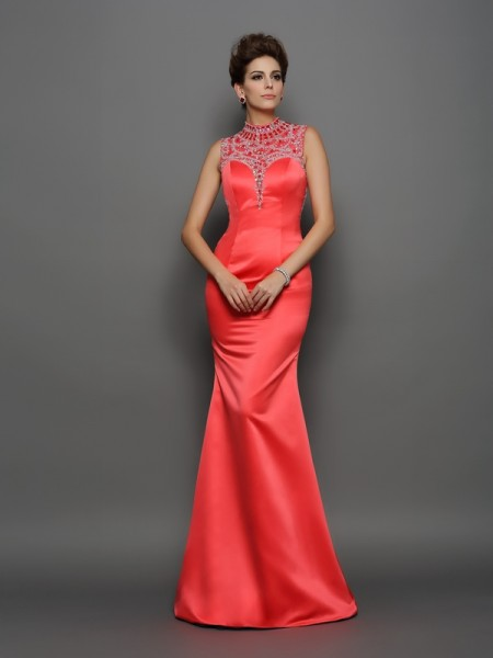 Trumpet/Mermaid Red Satin Sweep/Brush Train Evening Dresses with Beading