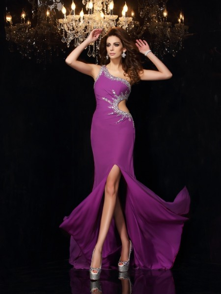 Sheath/Column Grape Chiffon Floor-Length Dresses with Beading