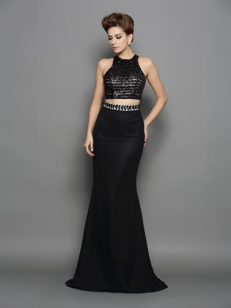 Trumpet/Mermaid Black Chiffon Sweep/Brush Train Dresses with Other