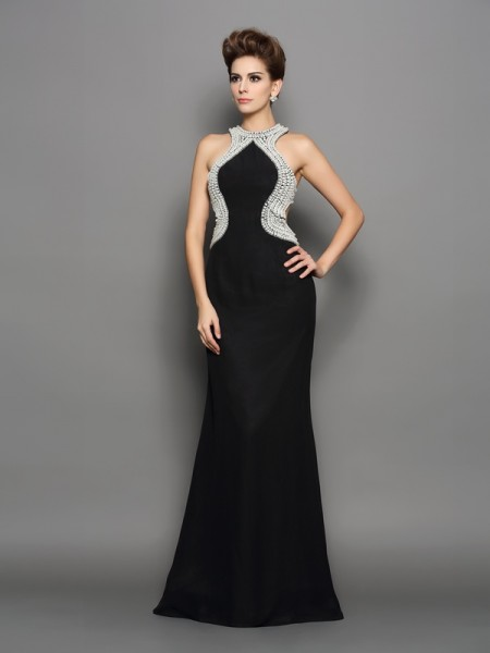 Trumpet/Mermaid Black Chiffon Sweep/Brush Train Dresses with Pearls