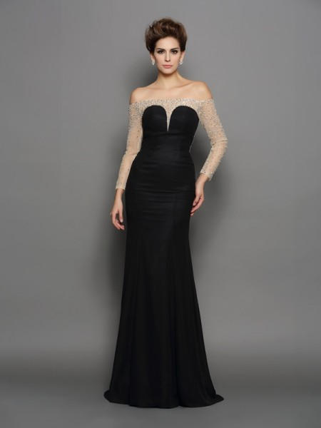 Trumpet/Mermaid Black Chiffon Sweep/Brush Train Dresses with Beading