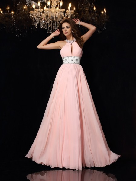 A-Line/Princess Pink Chiffon Floor-Length Dresses with Pleats