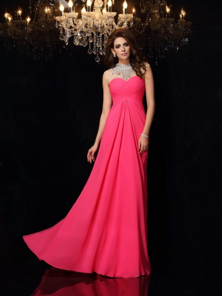 A-Line/Princess Fuchsia Chiffon Sweep/Brush Train Dresses with Ruched