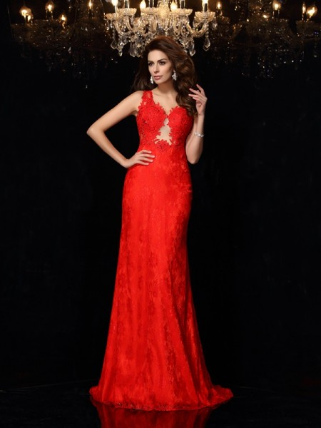 Sheath/Column Red Satin Sweep/Brush Train Dresses with Lace