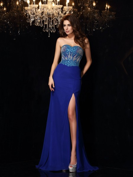 Sheath/Column Royal Blue Chiffon Sweep/Brush Train Dresses with Beading