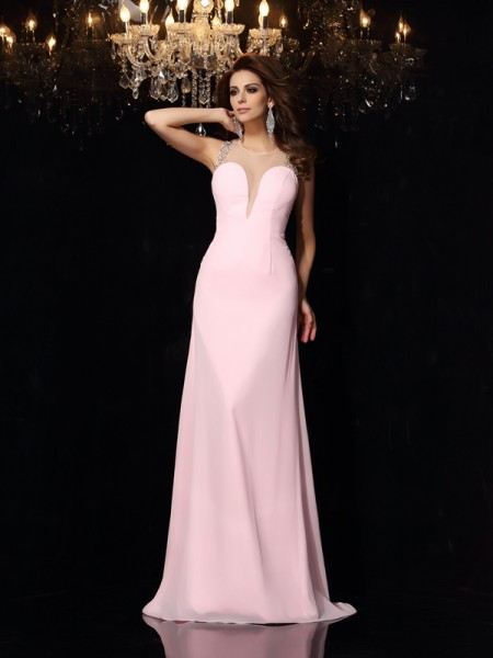 Trumpet/Mermaid Pink Chiffon Court Train Dresses with Beading