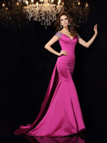 Trumpet/Mermaid Fuchsia Satin Court Train Dresses with Beading