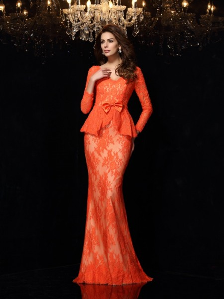 Sheath/Column Orange Lace Sweep/Brush Train Dresses with Bowknot
