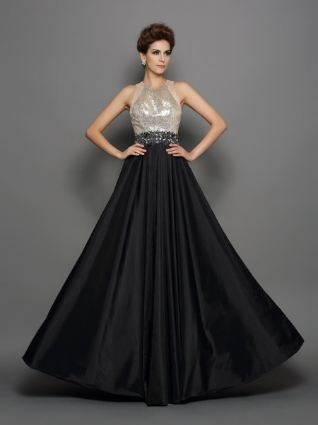 A-Line/Princess Black Taffeta Floor-Length Dresses with Sequin
