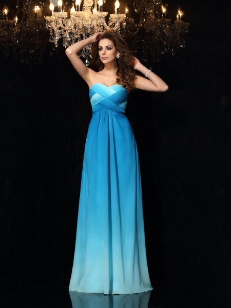 A-Line/Princess Multi Colors Chiffon Floor-Length Dresses with Ruched