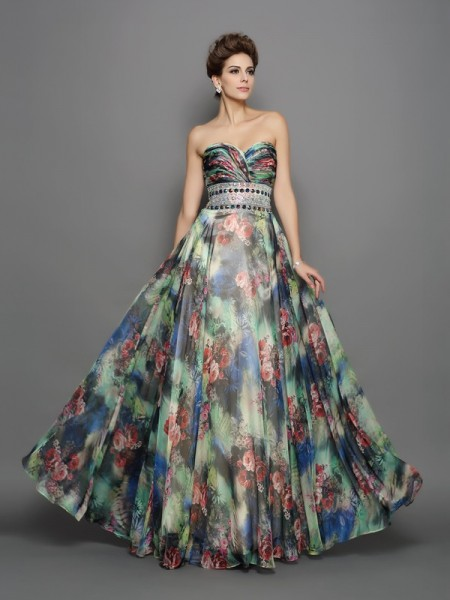 A-Line/Princess Multi Colors Chiffon Floor-Length Dresses with Beading