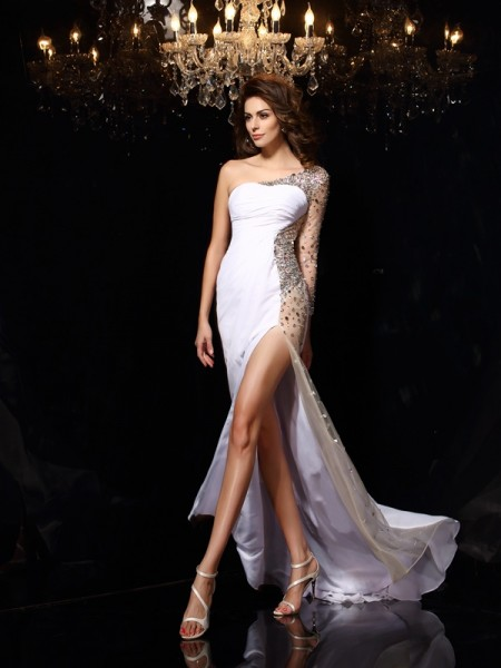 Sheath/Column White Chiffon Sweep/Brush Train Dresses with Beading