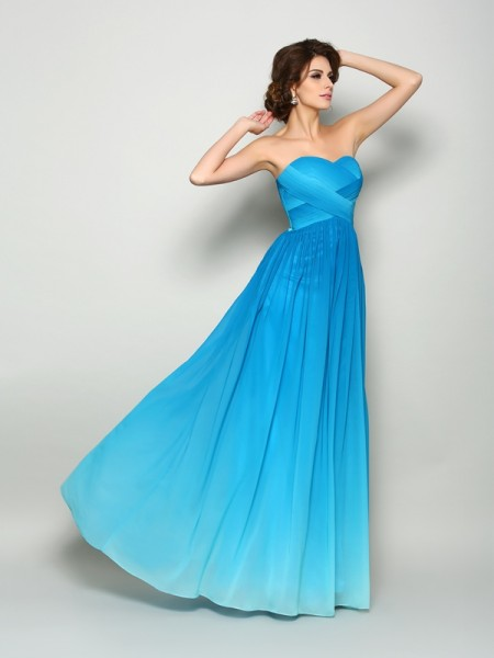 A-Line/Princess Multi Colors Chiffon Floor-Length Dresses with Pleats