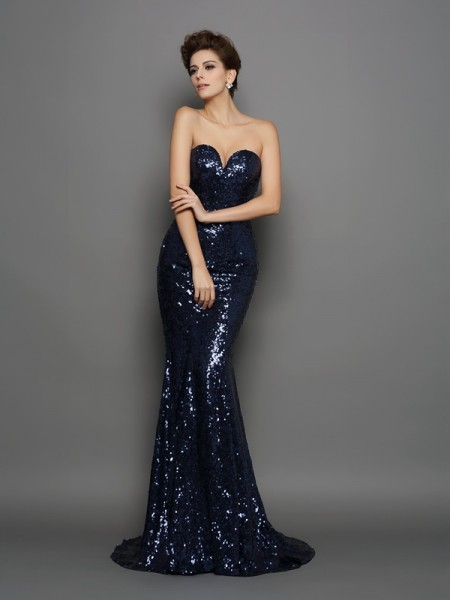 Trumpet/Mermaid Dark Navy Sequins Sweep/Brush Train Dresses with Sequin