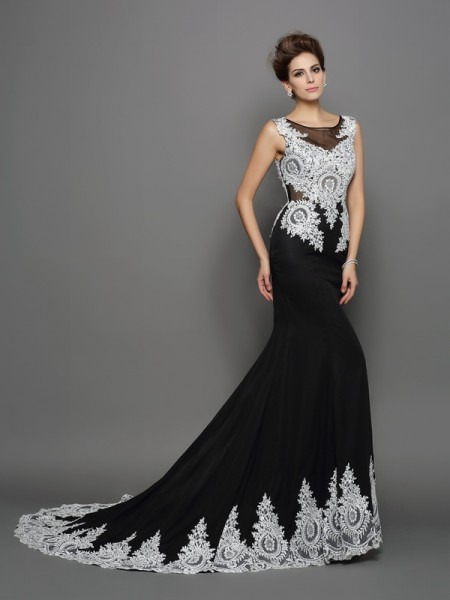 Trumpet/Mermaid Black Chiffon Chapel Train Evening Dresses with Lace