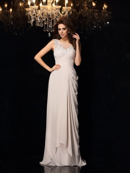 Trumpet/Mermaid Grey Chiffon Sweep/Brush Train Evening Dresses with Lace