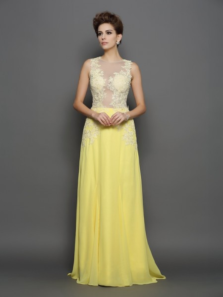 A-Line/Princess Daffodil Chiffon Sweep/Brush Train Dresses with Lace