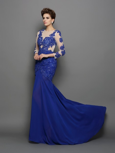 Trumpet/Mermaid Royal Blue Chiffon Sweep/Brush Train Evening Dresses with Lace