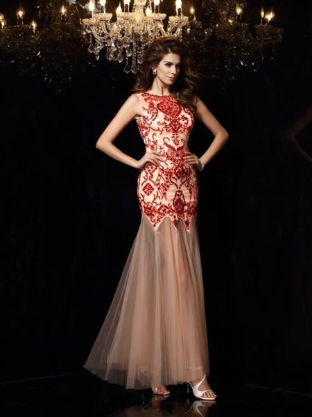 Sheath/Column Red Satin Floor-Length Dresses with Beading