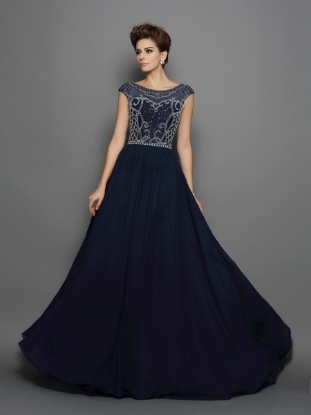 A-Line/Princess Dark Navy Chiffon Sweep/Brush Train Dresses with Beading