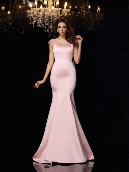 Trumpet/Mermaid Pink Satin Court Train Evening Dresses with Beading