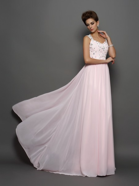 A-Line/Princess Pearl Pink Chiffon Sweep/Brush Train Dresses with Beading