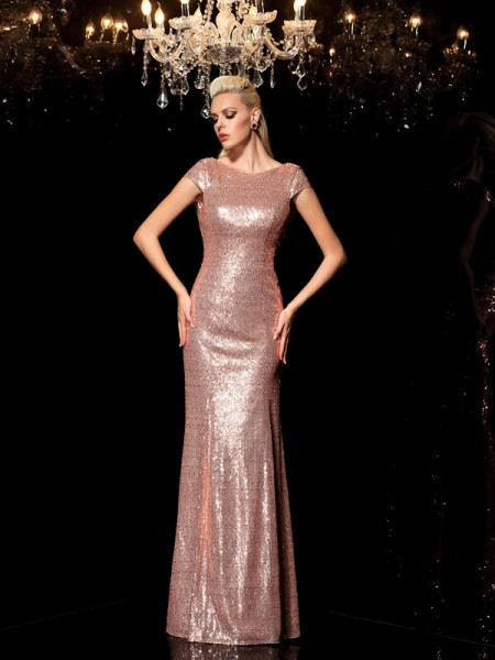 Sheath/Column Champagne Sequins Floor-Length Evening Dresses with Sequin