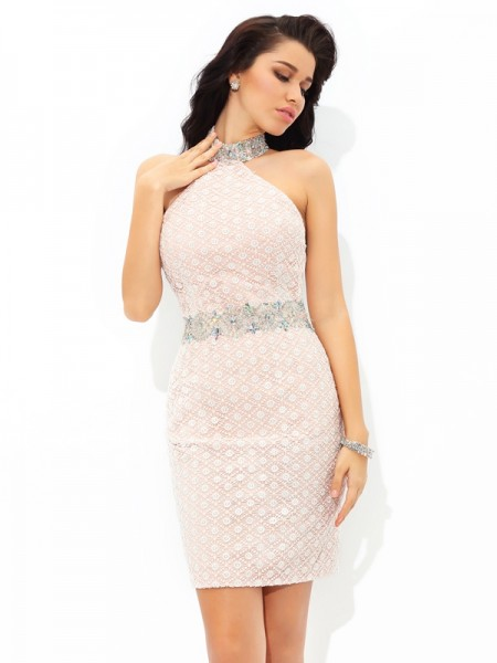 Sheath/Column Champagne Satin Short/Mini Homecoming Dresses with Beading